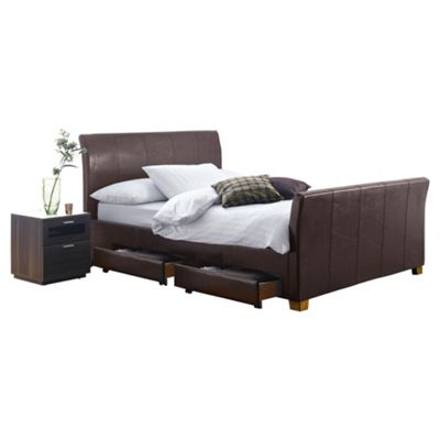 Rayne King Faux Leather Bed Frame with 4 Drawers, Brown