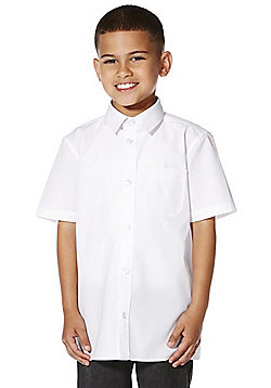 "F&F School 2 Pack of Boys Teflon® EcoElite""™ Short Sleeve Shirts - White"