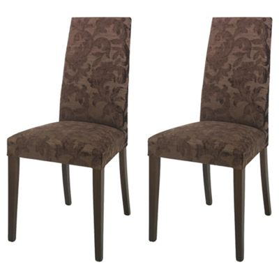 Lucca Pair Of Chairs Walnut Legs & Brown Damask