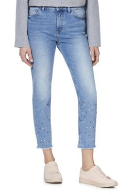 F&F Diamante Mid Rise Relaxed Skinny Jeans Mid Wash 12 Short leg