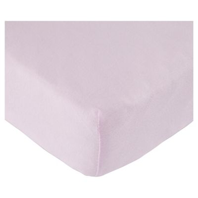 Tesco Loves Baby Fitted Jersey Sheet Cot Bed, Pink