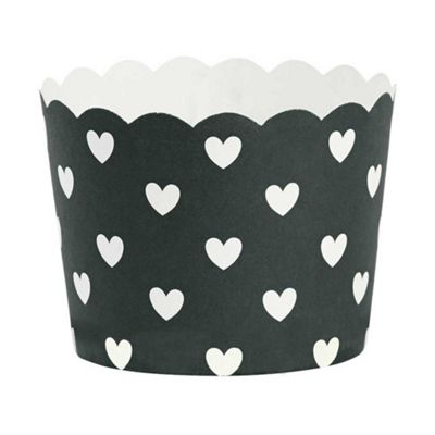 Miss Etoile Set of 24 Black with White Hearts Paper Baking Cups Ø 6 x H 4.7 cm