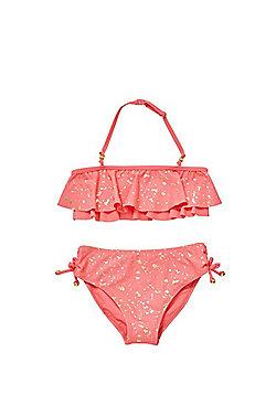 F&F Foil Splatter Frill Bikini Set - Pink