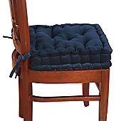 Homescapes Cotton Dining Chair Booster Cushion Navy Blue