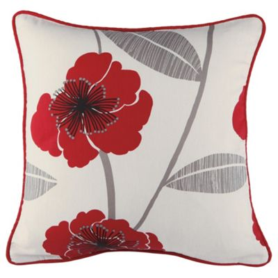 Tesco Set Of 2 Printed Poppy Cushion Covers, Red