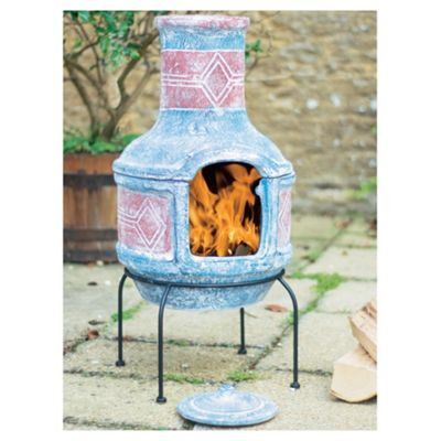 La Hacienda Aztec Styled Clay Barbecue Chimenea Blue/Red