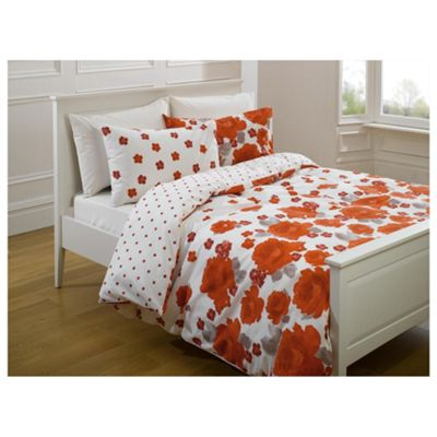 Tesco Painterly Floral Print Kingsize Size Duvet Cover Set- Cherry