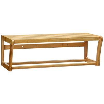 Top Home Solutions Bamboo Wall Mounted Bathroom Shelf