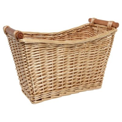 Tesco Basic Wicker Magazine Rack with Wood Handles, Honey