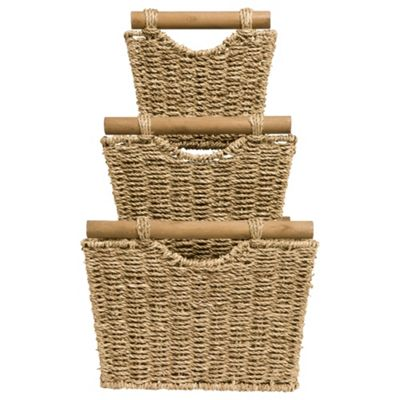 Tesco Seagrass Baskets With Wood Handles Set Of 3