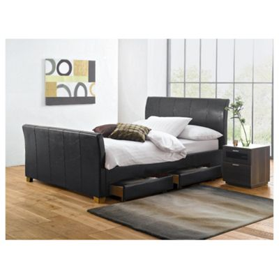 Buy Rayne King Faux Leather Bed Frame With 4 Drawers