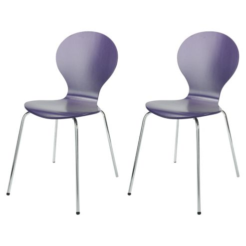 Bistro Pair of Stacking Chairs, Purple