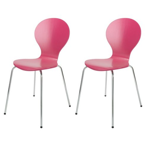 Bistro Pair of Stacking Chairs, Pink