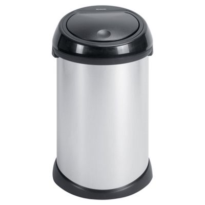 Brabantia 50L Bin - Brilliant Steel - Black Soft Touch Lid