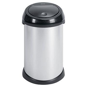 Brabantia Touch Bin 50 Liter Wit.Brabantia 50l Bin Brilliant Steel Black Soft Touch Lid