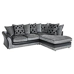Arabella Right Hand Corner Chaise, Geometric Dark Grey