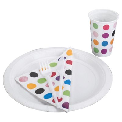 Tesco Spot 20 Person Disposable Tableware Set