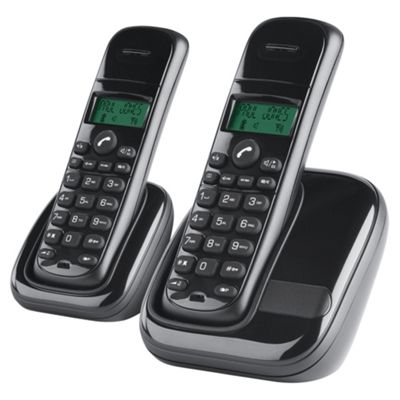 Tesco AWB001 Twin Cordless Telephone , Black