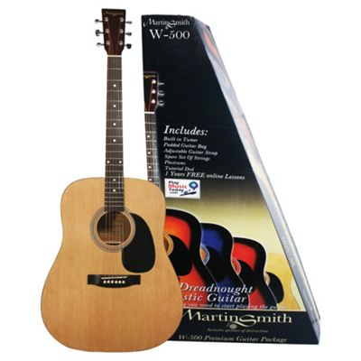 Martin Smith W-500 Acoustic Guitar with Built in Electronic Tuner Kit Natural