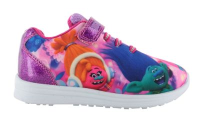 Girls Trolls Pink Sports Canvas Trainers Shoes Hook & Loop UK Size 10