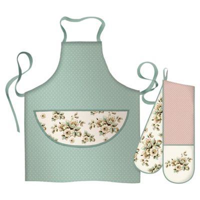 Katie Alice 2 piece Kitchen Textiles Set inc Double Oven Glove and Apron