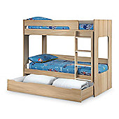Happy Beds Ellie Wood Kids Bunk Bed and Underbed Storage Drawer with 2 Memory Foam Mattresses - Oak - 3ft Single