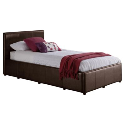 Eden Single Faux Leather Storage Bed Frame, Brown