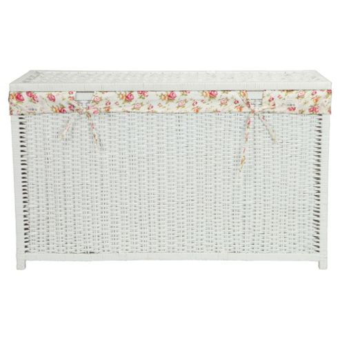 White Wicker Trunk With Floral Lining