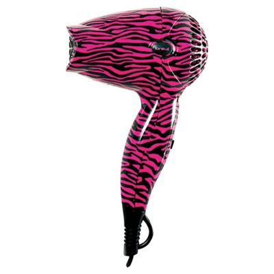 Ionika Hot Pink Zebra Print 1200W Mini Dryer