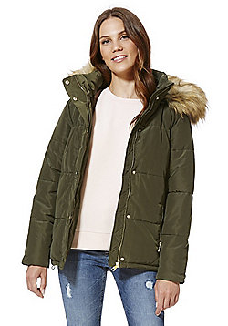 F&F Faux Fur Trim Shower Resistant Padded Jacket - Khaki