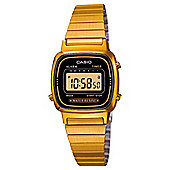 Casio LA670WEGA/1E Ladies Black Dial Gold Plated Digital Watch