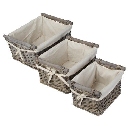 Tesco Wicker Baskets with Wood Handles, Set of 3, Grey