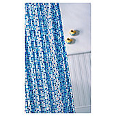 Croydex Vinyl Shower Curtain, Blue Mosaic