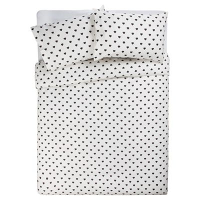 Tesco Double Heart Polka Dot Print Duvet Cover Set