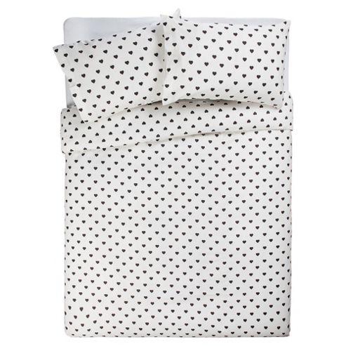 Tesco Double Heart Polka Dot Print Duvet Cover Set
