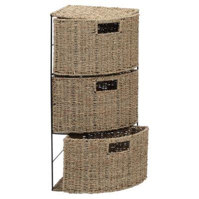 Tesco Seagrass 3 Drawer Corner Tower