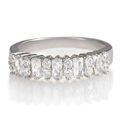 Platinum Plated Silver Eternity Ring, M