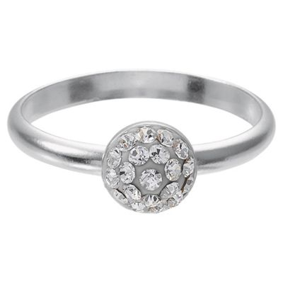 Sterling Silver Clear Crystal Set Stacking Ring, Small