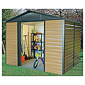 Yardmaster 9'4x12' Woodgrain Effect Metal Shiplap Shed with floor support frame