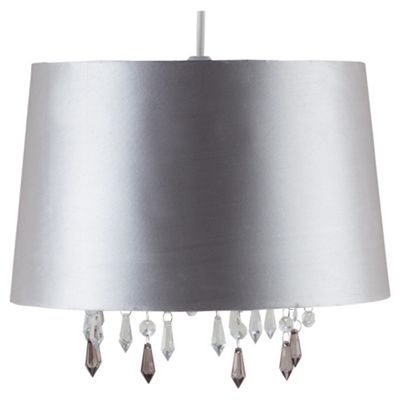 Tesco Lighting Arabella Satin Shade Metallic Liner And Drops Silver