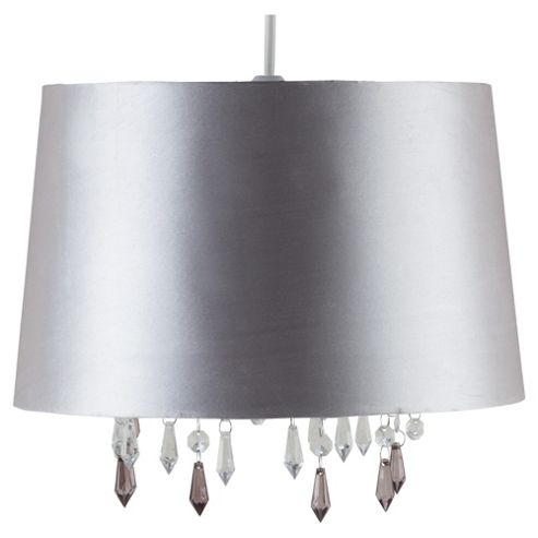 Tesco Lighting Arabella Satin Shade Metallic Liner And Drops Silver