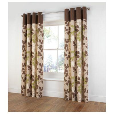 Tesco Bold Leaf Print Eyelet Curtains W168xL183cm (66x72