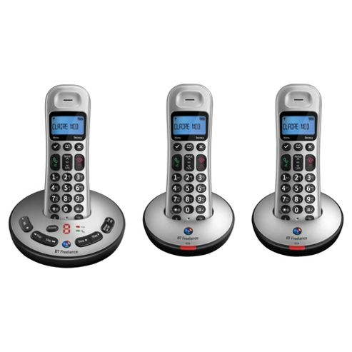 BT Freelance XT3500 Digital Cordless Triple Phone with Answer Machine - Silver
