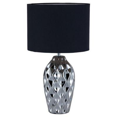 Tesco Lighting Faceted Black Silver Table Lamp