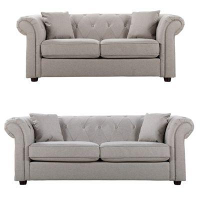 Sofa Collection Santa Fe Herringbone Fabric 3+2 Sofa - Beige