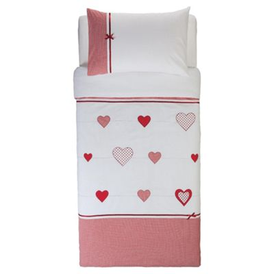 Tesco Kids Embroidered Heart & Bows Duvet Set