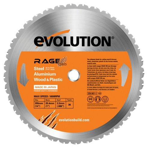 Evolution RAGE 355mm Multipurpose TCT Blade (Orange)
