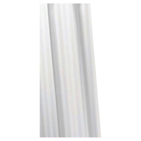 Croydex Textile Shower Curtain Woven Stripe White