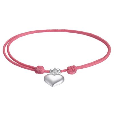 Pink Friendship Bracelet with Heart Charm