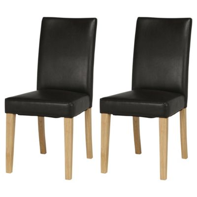Banbury Oak Effect Faux Leather Set of 2 Dining Chairs